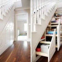 pull out shelves under steps, innovative organizing ideas